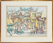 Sale 8807 - Lot 2005 - Artist Unknown - Festive Street Scene Outside Chinese Temple 56.5 x 74cm