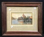 Sale 8945 - Lot 2095 - Artist Unknown - Ferrie at Wharf, watercolour, ILR, 14x25cm foxed