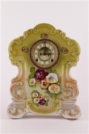 Sale 9010D - Lot 716 - Porcelain Continental mantle clock with Ansonia movement (H43.5cm)