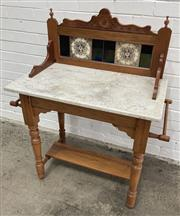 Sale 9063 - Lot 1056 - Edwardian Pine Marble Top Wash Stand (h:112 x w:83 x d:46cm)