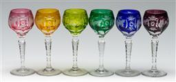 Sale 9211 - Lot 72 - A Set of Five Harlequin Coloured Bohemian Liqueur Glasses (H:12cm)