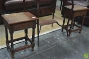 Sale 8310 - Lot 1637 - Pair of Oak Stools with Turned Supports