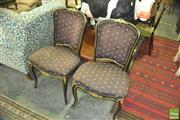 Sale 8352 - Lot 1099 - Pair of Black Painted Dining Chairs
