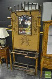 Sale 8368 - Lot 1006 - Vintage Bamboo Hallstand w Central Mirrored Panel