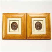 Sale 8412A - Lot 31 - Framed Pair Of Copper Plaques height - 21cm