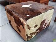 Sale 8585 - Lot 1009 - Vintage Cowhide Upholstered Ottoman