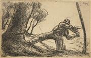 Sale 8592 - Lot 2045 - Szonyi Istvan (1894 - 1960) - Tree Cutter 10.5 x 16cm