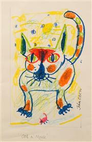 Sale 8606 - Lot 539 - John Olsen (1928 - ) - Cat n Mouse 24 x 15.5cm