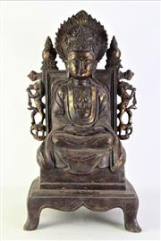 Sale 8897 - Lot 37 - A Large Bronze of A Seated Buddha with Removeable Aura Panel, Incised Character Marks to Top of Stand