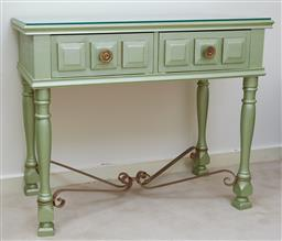 Sale 9097H - Lot 93 - A Glasstop open desk with two drawers stretcher base in green metallic H-76cm W-92cm D-48cm