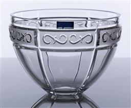 Sale 9245R - Lot 1 - A Waterford deep lead crystal bowl, the rim with frosted panels of scrolled decoration, Ht: 12.5cm x D: 17.5cm