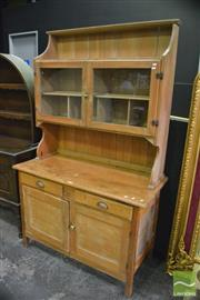 Sale 8386 - Lot 1006 - Pine Kitchen Cabinet with Two Glass Panel Doors Above Two Drawers & Doors