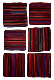 Sale 8455C - Lot 30 - 6 Tribal Afghan Cushion Covers, Made From Vintage Kilims