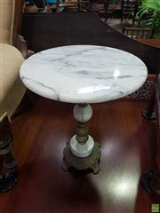 Sale 8601 - Lot 1054 - Marble and Brass Wine Table