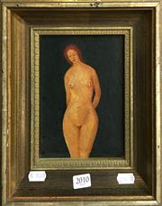 Sale 8674 - Lot 2010 - J.J. Selke - Standing Nude oil on board, 27.5 x 22.5cm, signed lower right -