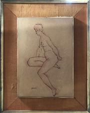 Sale 8807 - Lot 2045 - Maxmillian Feuerring Seated Nude pencil (af), signed -