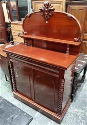 Sale 8939 - Lot 1032 - Late 19th Century Cedar Chiffonier, the carved back with shelf, with long drawer & two arched panel doors flanked by bobbin columns....