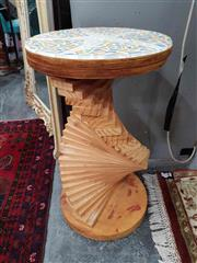 Sale 8934 - Lot 1053A - Contemporary Spiralling Side Table with Tiled Round Top