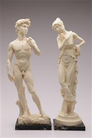 Sale 9052 - Lot 367 - Composite figure of David (43cm) together with a figure of a goddess (H43.5cm