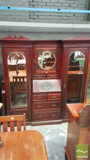 Sale 8375 - Lot 1052 - Edwardian Breakfront Wardrobe, with fall-front above four drawers flanked by mirrored hanging sections