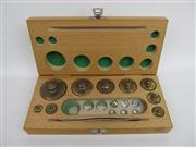 Sale 8431A - Lot 652 - Complete Set of Vintage Brass Laboratory Masses in a Wooden Case