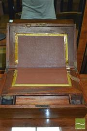 Sale 8444 - Lot 1073 - Victorian Walnut Writing Slope, with bevelled crossbanded top (faults)