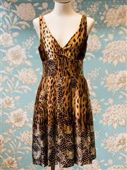 Sale 8474A - Lot 79 - A fun Monica A Black Label 100% Silk cheetah print dress , condition: very good, size: 10