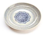 Sale 8517A - Lot 29 - A Qing style porcelain plate with stylised Chou character, D 25cm