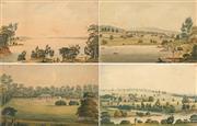 Sale 8656 - Lot 585 - Joseph Lycett (c1775 - 1828) (4 plates) - Botany Bay; Burwood Villa; Wooloomooloo (Residence of Edward Philip Esq); Residence of Joh...