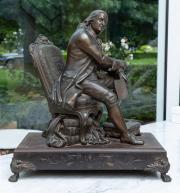 Sale 8677B - Lot 572 - A spelter figure of the reverend John Weseley, raised on rectangular plinth, H x 39cm, W x 35cm
