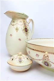 Sale 8710 - Lot 24 - Crown Devon Ware Stoke on Trent Wash Basin, Jug and Soap Dish