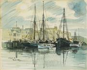 Sale 8821 - Lot 507 - Frank Norton (1916 - 1983) - Hobart, 1959 27 x 34.5cm