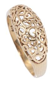 Sale 8937 - Lot 321 - A 9CT GOLD HEART RING; dome top with pierced hearts motif, size N, wt. 2.12g.