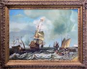 Sale 8964 - Lot 2050 - F Harvey (C20th) Maritime Scene acrylic on canvas, 123 x 53cm (frame), signed lower left