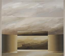 Sale 9096 - Lot 564 - David Voigt (1944 - ) Gold Ridge, 1981 acrylic on canvas 129.5 x 16.5 cm signed, dated and titled verso