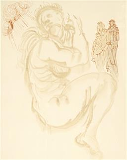 Sale 9170A - Lot 5052 - SALVADOR DALI (1904 - 1989) The Siren Dream colour woodblock print 29 x 21 cm (frame: 74 x 63 x 4 cm) certificate of authenticity verso