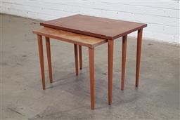 Sale 9146 - Lot 1013 - Pair of graduated teak side tables (h:45 x w:60 x d:40cm)