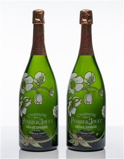Sale 9255H - Lot 50 - A pair of Perrier-Jouet Belle Epoque Champagne Brut magnum display bottles, Height 39cm.