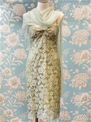 Sale 8474A - Lot 80 - An elegant Lisa Ho pistachio green lace dress with shawl/scarf, condition: very good, size: 10