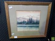 Sale 8544 - Lot 2018 - F.  Knight - Mountains and Lake Scene, watercolour, 20 x 21cm, signed lower right