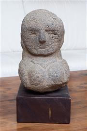 Sale 8694A - Lot 6 - A lava stone bust of a female after the antique on a square timber base, total height 34cm
