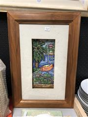 Sale 8789 - Lot 2169 - Framed Relief of a Fishing Boat & Palm Tree