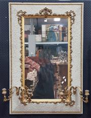 Sale 8848 - Lot 1052 - Antique White & Gilt Gesso Mirror, of cushion form with two branch sconces
