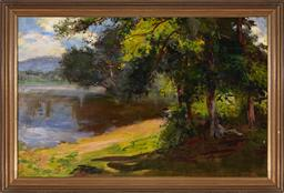 Sale 9125 - Lot 585 - Artist Unknown Lake Scene oil on canvas 57.5 x 90.5 cm (frame: 69 x 102 x 3 cm) signed lower right