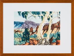 Sale 9191H - Lot 32 - ELTON WIRRI (1990 - ) Ghost Gums, MacDonnell Ranges watercolour 35.5 x 47.5cm (frame 59 x 77 cm) signed lower left