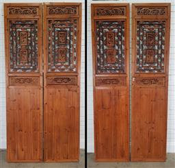 Sale 9196 - Lot 1042 - Set of Four Chinese Cypress Wall Panels, with pierced panels having carved figural panels & motifs (h:248 x w:58cm)