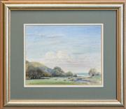 Sale 8297 - Lot 583 - Henry Edgecombe (1881 - 1954) - Cattles Grazing Near Glenrock Lagoon, South Coast 25 x 32cm