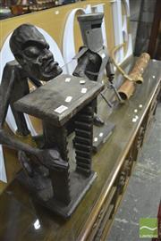 Sale 8310 - Lot 1594 - Dart/Arrow Holder , CD Rack & Ned Kelly Figure
