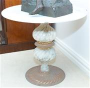 Sale 8341A - Lot 9 - A marble topped low circular pedestal table, H 49cm