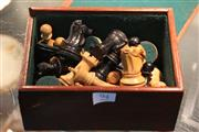 Sale 8360 - Lot 94 - Chess game complete with original figured pieces.